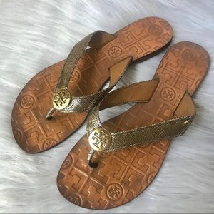 Tory Burch Thora Metallic Gold Weave Sandals